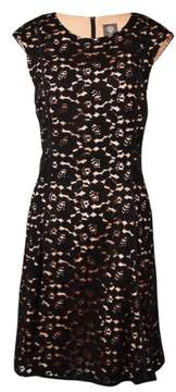 Vince Camuto Women's Piped Lace A-Line Dress (12, Black)