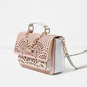 River Island Womens Pink laser cut mini satchel chain bag