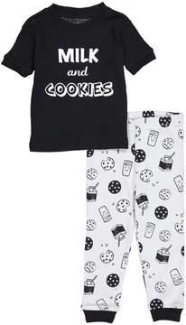 Petit Lem Black 'Milk and Cookies' Crewneck Tee & Pants - Infant & Toddler