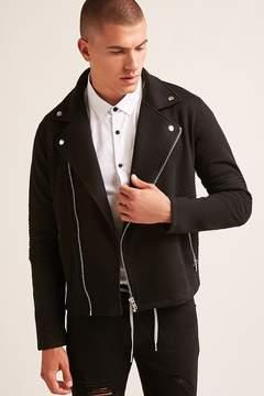 21men 21 MEN Ribbed Moto Knit Jacket