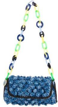 M Missoni Pom-Pom Raffia Chain Bag