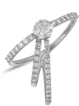 Bony Levy 18K White Gold Diamond Detail Flower & Triple Band Detail Ring