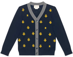 Children's wool bees and stars cardigan