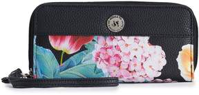 Co Stone & Floral Pebbled Leather Double Zip Around Wallet