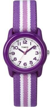 Timex Girls Time Machines Purple/Pink Stripe Watch, Elastic Fabric Strap