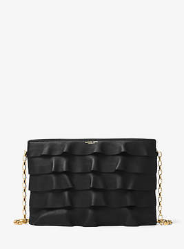 Michael Kors Miranda Ruffled-Leather Crossbody - BLACK - STYLE