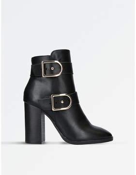Miss KG Ladies Black Spring Buckle-Detail Ankle Boots
