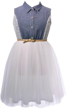 Bonnie Jean Girls 7-16 Chambray Lace Tulle Skirt Dress