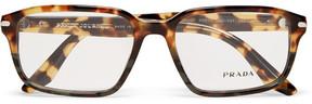 Prada Havana Square-Frame Tortoiseshell Acetate Optical Glasses