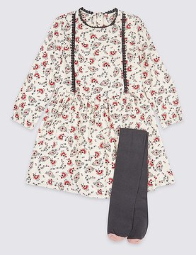 Marks and Spencer 2 Piece Flower Print Dress with Tights Outfit (3 Months - 6 Years)