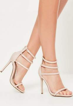 Missguided Nude Four Strap Barely There Heels