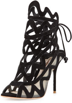 Sophia Webster Mila Suede Cutout Peep-Toe Sandal, Black