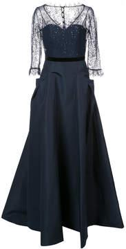 Carolina Herrera lace panel flared gown