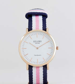 Reclaimed Vintage Inspired Stripe Canvas Watch In Pink/Blue 36mm Exclusive to ASOS
