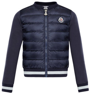 Moncler Down Quilted Coat w/ Knit Sleeves, Size 8-14