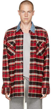 Fear Of God Red Check Denim Collar Shirt