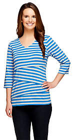 Denim & Co. Tiered Striped Knit 3/4 SleeveV-Neck Top