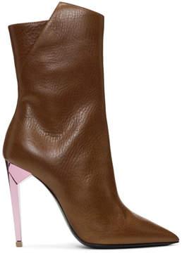 Saint Laurent Brown Metallic Heel Freja Boots