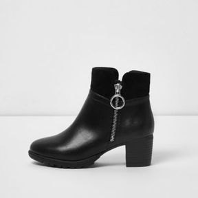River Island Girls black side ring zip block heel boots
