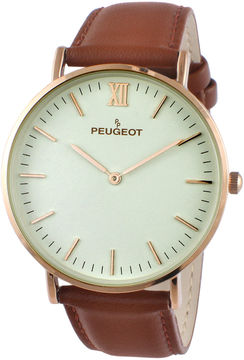 Peugeot Men's Brown And Rose Gold Tone Ultra Slim Leather Strap Watch 2050RG