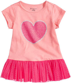First Impressions Tulle-Flounce Heart-Print Tunic, Baby Girls (0-24 months), Created for Macy's