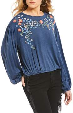 Chelsea & Violet C&V Bubble Hem Embroidered Knit Top