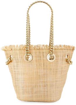 Neiman Marcus Chain Strap Mini Straw Bag