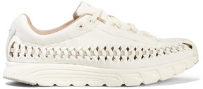Nike Mayfly Woven Leather-trimmed Faux Suede Sneakers - Off-white