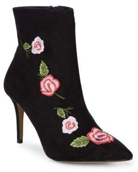 Betsey Johnson Embroidered Textile Booties