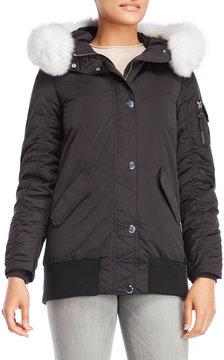 1 Madison Real Fur Trim Hooded Down Jacket