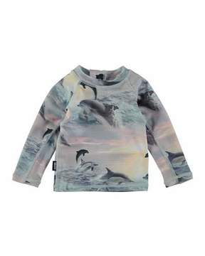Molo Nemo Dolphins Sunset Long-Sleeve Rash Guard, Size 3-24 Months