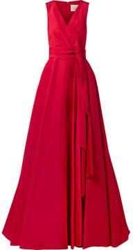 Carolina Herrera Gathered Silk-faille Gown - Claret