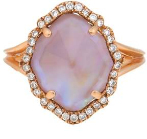 Frederic Sage 18k Pg Small Marquis Smooth Top Pink Mop, Crystal and Diamond Around Ring