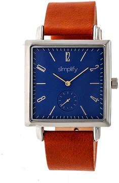 Simplify Blue Dial Mens Brown Strap Watch-Sim5004