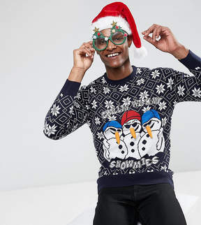 Brave Soul TALL Holidays Chilling Snowmen Sweater