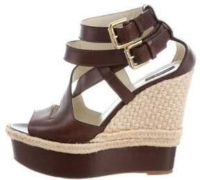 Etro Leather Wedge Sandals