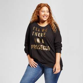 Fifth Sun Women's Plus Size I'll Be There in A Prosecco Long Sleeve Graphic Sweatshirt Black