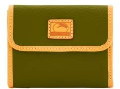 Dooney & Bourke Patterson Leather Small Flap Credit Card Wallet - OLIVE - STYLE