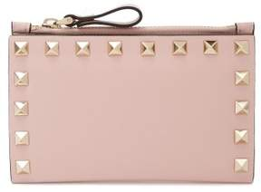 Valentino Rockstud Leather Cardholder - Womens - Light Pink