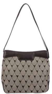 Valextra Leather-Trimmed Canvas Shoulder Bag