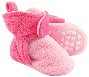 Luvable Friends Light Pink & Dark Pink Fleece Gripper Booties - Girls