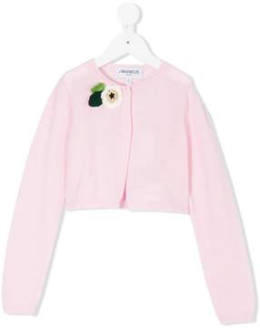 Simonetta flower applique cardigan