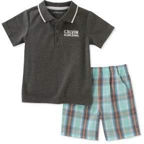 Calvin Klein Jeans Baby Boy's Cotton Top and Plaid Pants Set