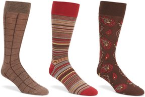 Roundtree & Yorke Big & Tall Paisley Combo Crew Dress Socks 3-Pack