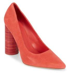 Pour La Victoire Leather Block Heel Pumps