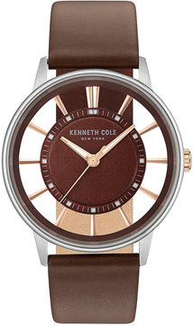 Kenneth Cole New York Men's Brown Leather Strap Watch 44mm KC14994002