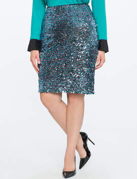 ELOQUII Two-Tone Sequin Pencil Skirt
