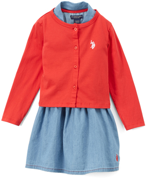 U.S. Polo Assn. Engine Red A-Line Dress, Bloomers & Cardigan - Toddler