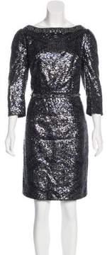 Andrew Gn Long Sleeve Sequin Dress
