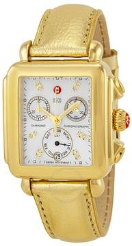 Michele Deco Gold Chronograph Mother of Pearl Dial Champagne Leather Ladies Watch